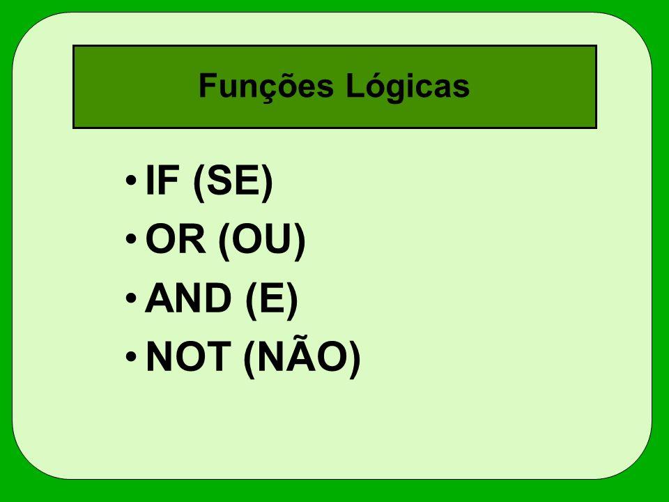 Funções Lógicas IF (SE) OR (OU) AND (E) NOT (NÃO)