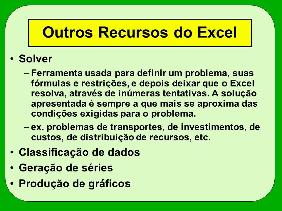 Outros Recursos do Excel Solver –Ferramenta usada para definir um problema, suas fórmulas e restrições, e depois deixar que o Excel resolva, através d
