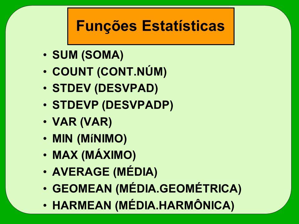 Funções Estatísticas SUM (SOMA) COUNT (CONT.NÚM) STDEV (DESVPAD) STDEVP (DESVPADP) VAR (VAR) MIN (MíNIMO) MAX (MÁXIMO) AVERAGE (MÉDIA) GEOMEAN (MÉDIA.