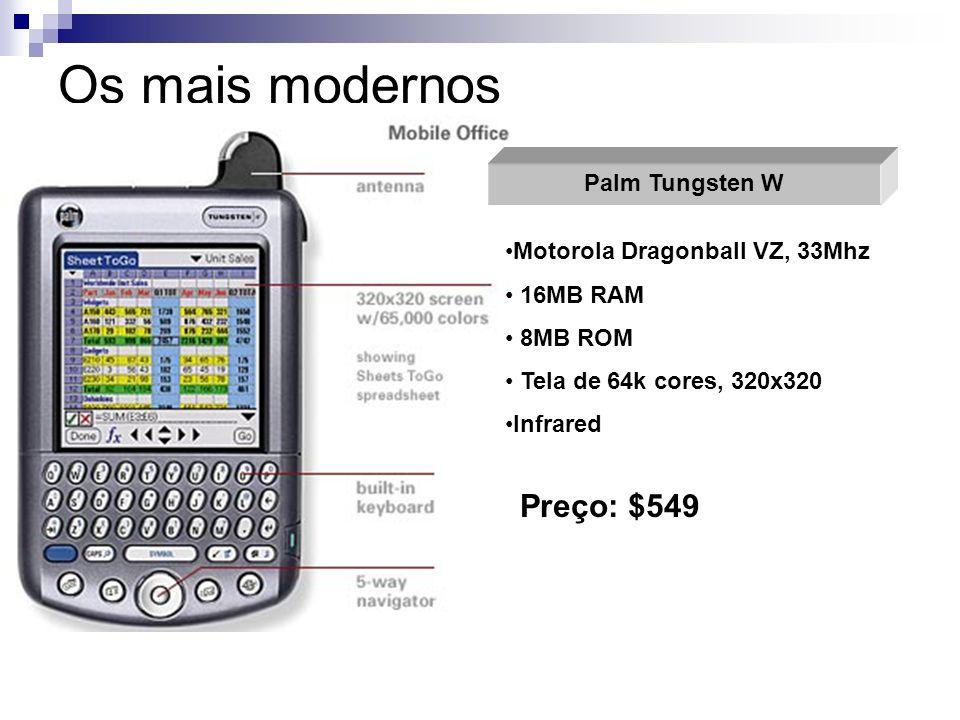 Os mais modernos Palm Tungsten W Motorola Dragonball VZ, 33Mhz 16MB RAM 8MB ROM Tela de 64k cores, 320x320 Infrared Preço: $549