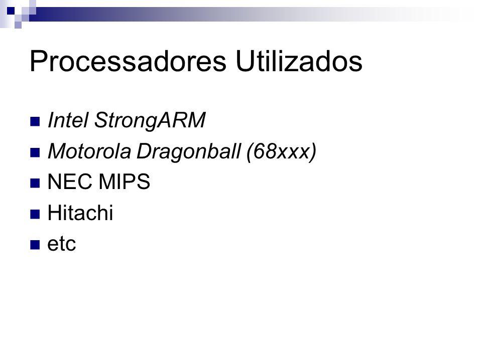 Processadores Utilizados Intel StrongARM Motorola Dragonball (68xxx) NEC MIPS Hitachi etc