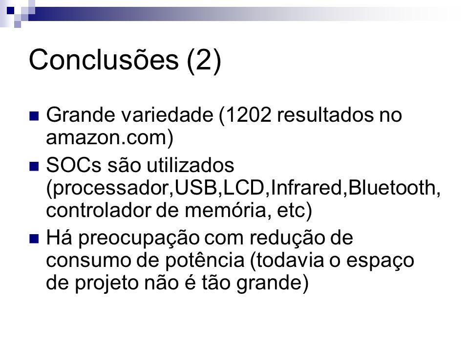 Conclusões (2) Grande variedade (1202 resultados no amazon.com) SOCs são utilizados (processador,USB,LCD,Infrared,Bluetooth, controlador de memória, e