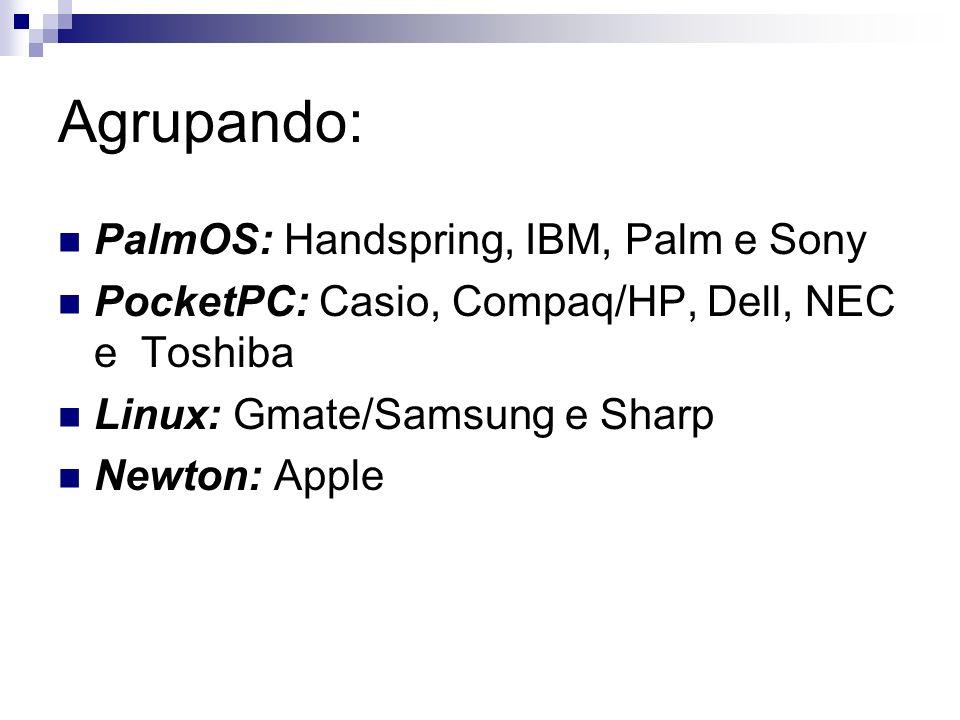 Agrupando: PalmOS: Handspring, IBM, Palm e Sony PocketPC: Casio, Compaq/HP, Dell, NEC e Toshiba Linux: Gmate/Samsung e Sharp Newton: Apple