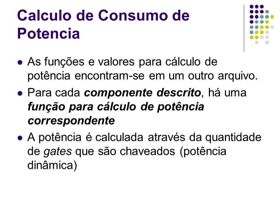 Calculo de Consumo de Potencia As funções e valores para cálculo de potência encontram-se em um outro arquivo. Para cada componente descrito, há uma f