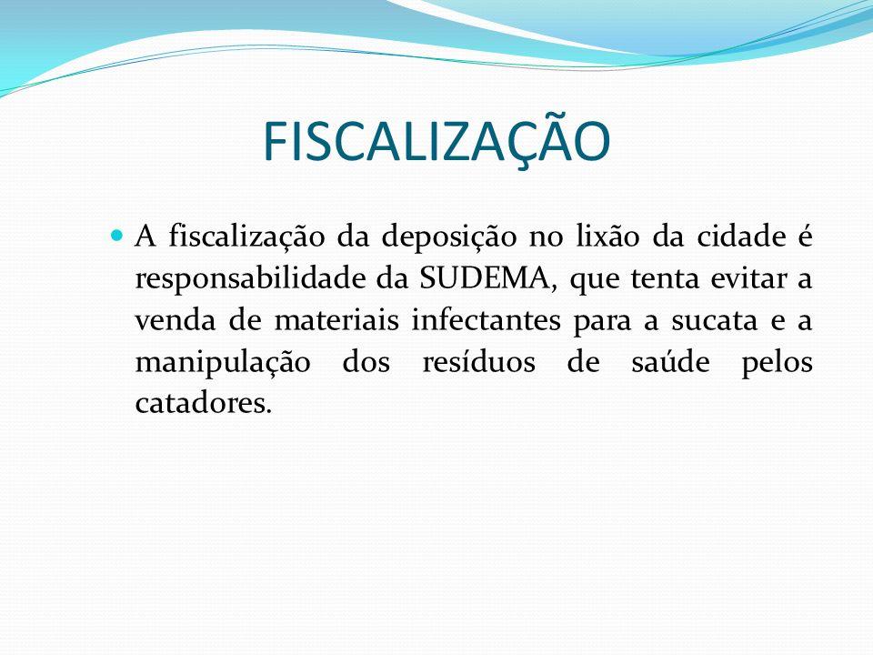 A fiscalização da deposição no lixão da cidade é responsabilidade da SUDEMA, que tenta evitar a venda de materiais infectantes para a sucata e a manip