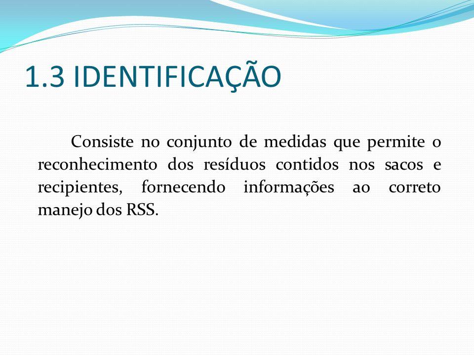 1.3 IDENTIFICAÇÃO Consiste no conjunto de medidas que permite o reconhecimento dos resíduos contidos nos sacos e recipientes, fornecendo informações a