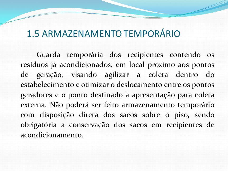 1.5 ARMAZENAMENTO TEMPORÁRIO Guarda temporária dos recipientes contendo os resíduos já acondicionados, em local próximo aos pontos de geração, visando