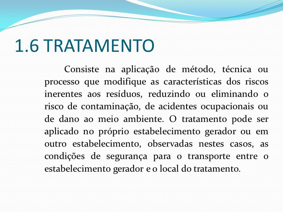 1.6 TRATAMENTO Consiste na aplicação de método, técnica ou processo que modifique as características dos riscos inerentes aos resíduos, reduzindo ou e