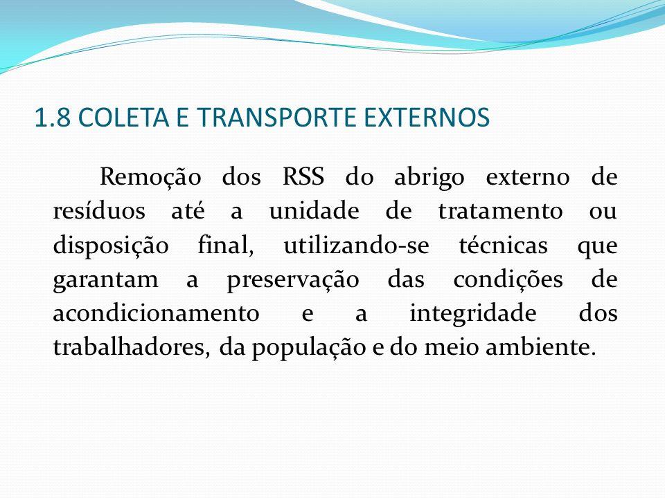 1.8 COLETA E TRANSPORTE EXTERNOS Remoção dos RSS do abrigo externo de resíduos até a unidade de tratamento ou disposição final, utilizando-se técnicas