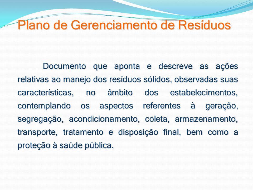 Plano de Gerenciamento de Resíduos Documento que aponta e descreve as ações relativas ao manejo dos resíduos sólidos, observadas suas características,