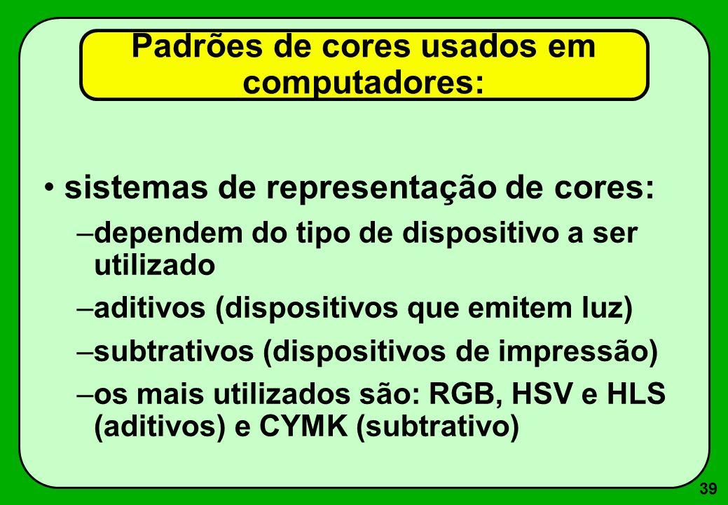 39 Padrões de cores usados em computadores: sistemas de representação de cores: –dependem do tipo de dispositivo a ser utilizado –aditivos (dispositiv