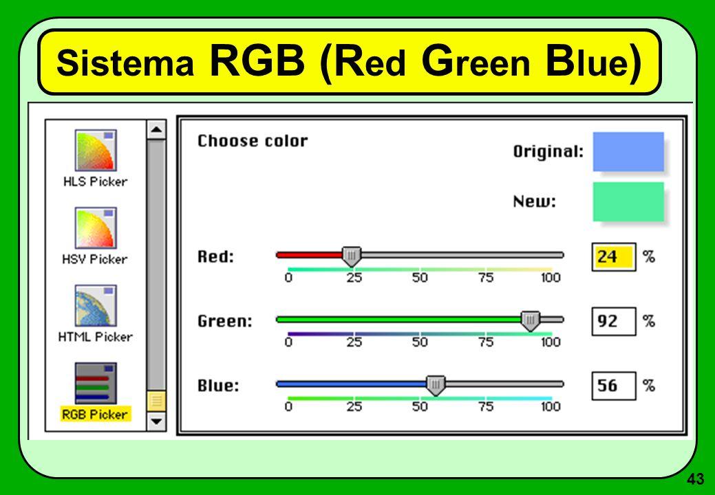 43 Sistema RGB (R ed G reen B lue )
