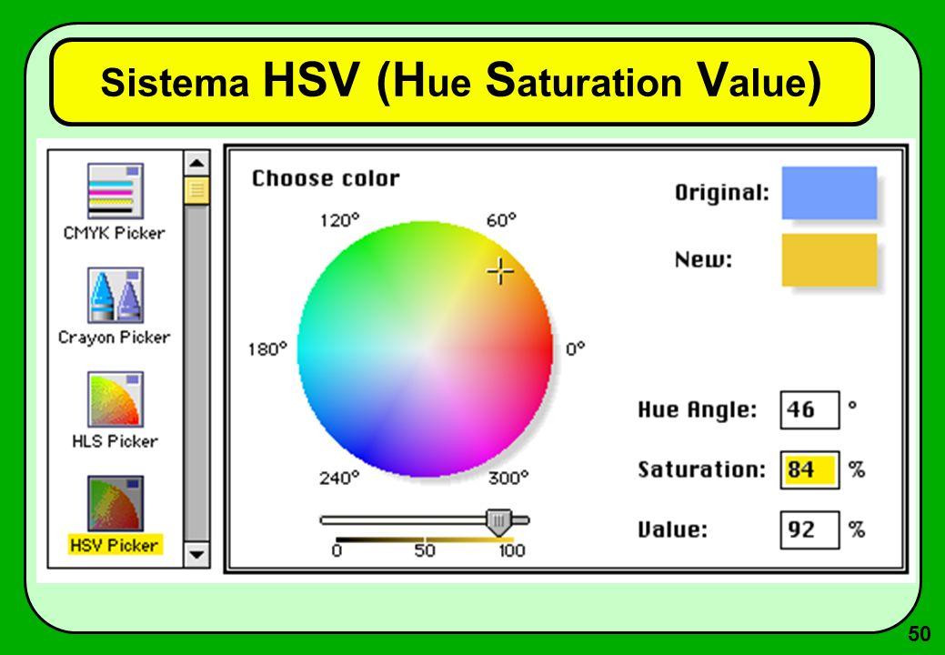 50 Sistema HSV (H ue S aturation V alue )