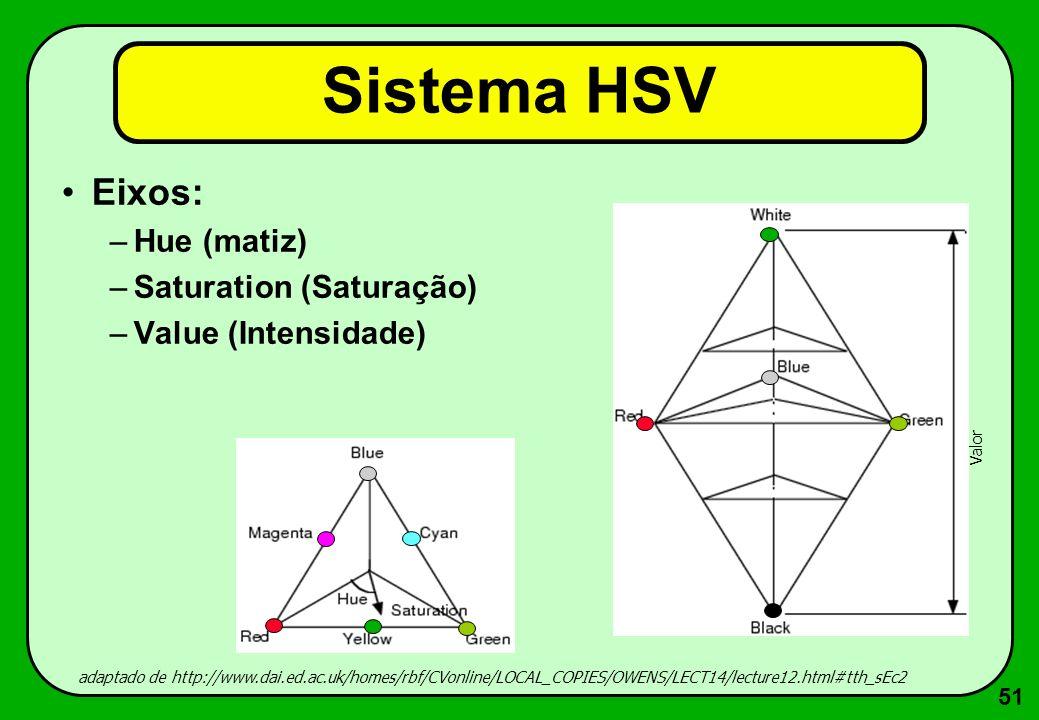 51 Sistema HSV Eixos: –Hue (matiz) –Saturation (Saturação) –Value (Intensidade) adaptado de http://www.dai.ed.ac.uk/homes/rbf/CVonline/LOCAL_COPIES/OW