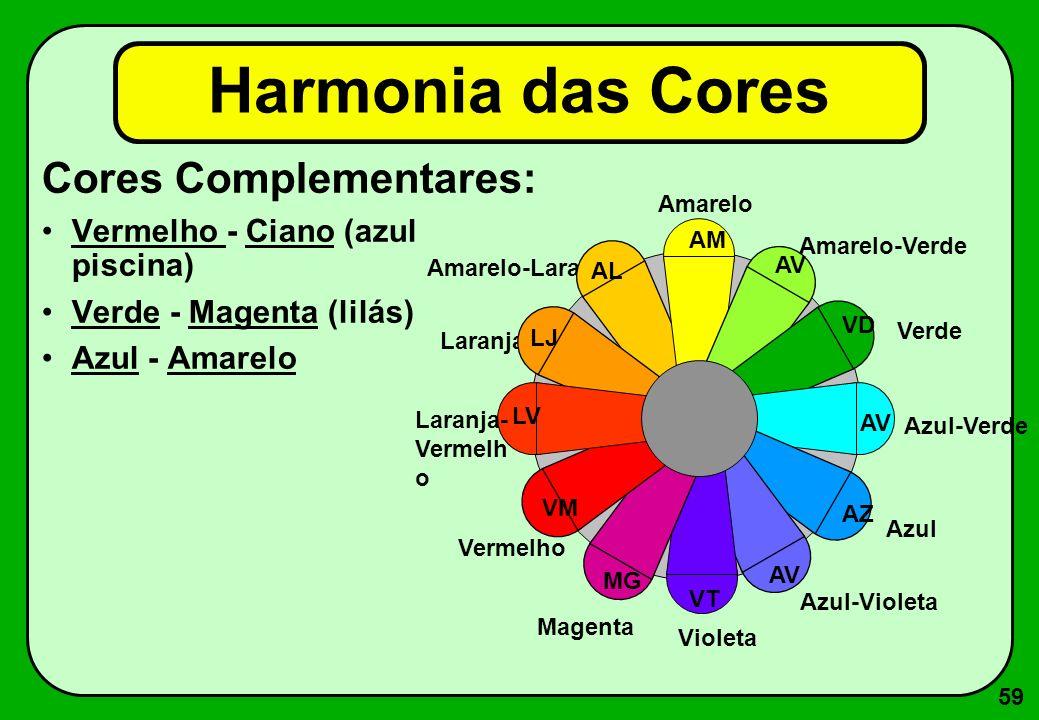 59 Cores Complementares: Vermelho - Ciano (azul piscina) Verde - Magenta (lilás) Azul - Amarelo Harmonia das Cores Amarelo-Laranja AL Amarelo AM Amare