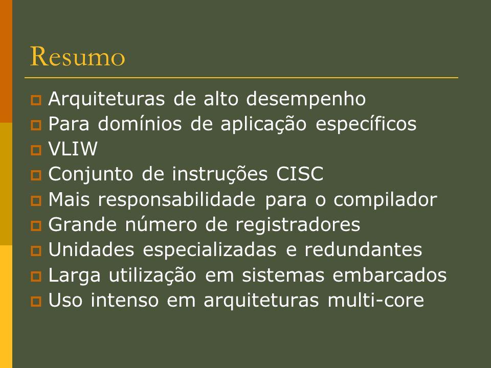 Resumo Arquiteturas de alto desempenho Para domínios de aplicação específicos VLIW Conjunto de instruções CISC Mais responsabilidade para o compilador