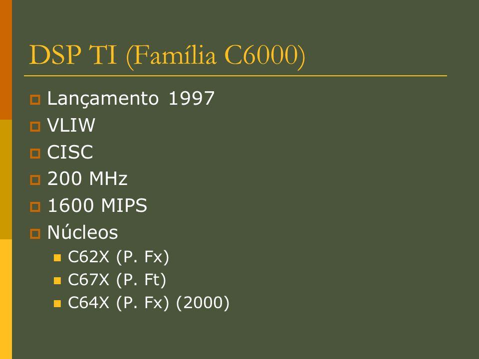 DSP TI (Família C6000) Lançamento 1997 VLIW CISC 200 MHz 1600 MIPS Núcleos C62X (P. Fx) C67X (P. Ft) C64X (P. Fx) (2000)