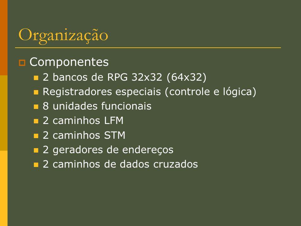 Organização Componentes 2 bancos de RPG 32x32 (64x32) Registradores especiais (controle e lógica) 8 unidades funcionais 2 caminhos LFM 2 caminhos STM