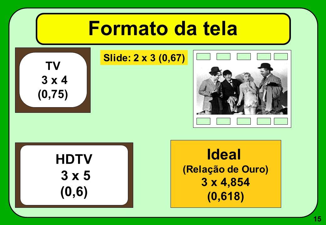 15 Formato da tela TV 3 x 4 (0,75) Slide: 2 x 3 (0,67) HDTV 3 x 5 (0,6) Ideal (Relação de Ouro) 3 x 4,854 (0,618)
