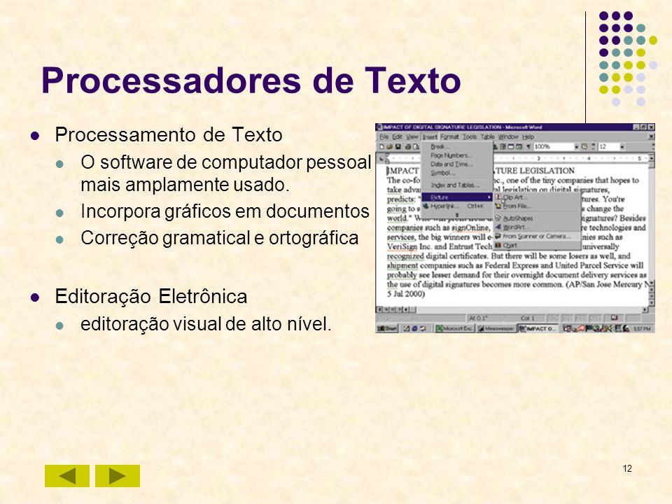 12 Processadores de Texto Processamento de Texto O software de computador pessoal mais amplamente usado. Incorpora gráficos em documentos Correção gra