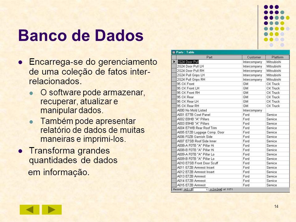 14 Banco de Dados Encarrega-se do gerenciamento de uma coleção de fatos inter- relacionados. O software pode armazenar, recuperar, atualizar e manipul
