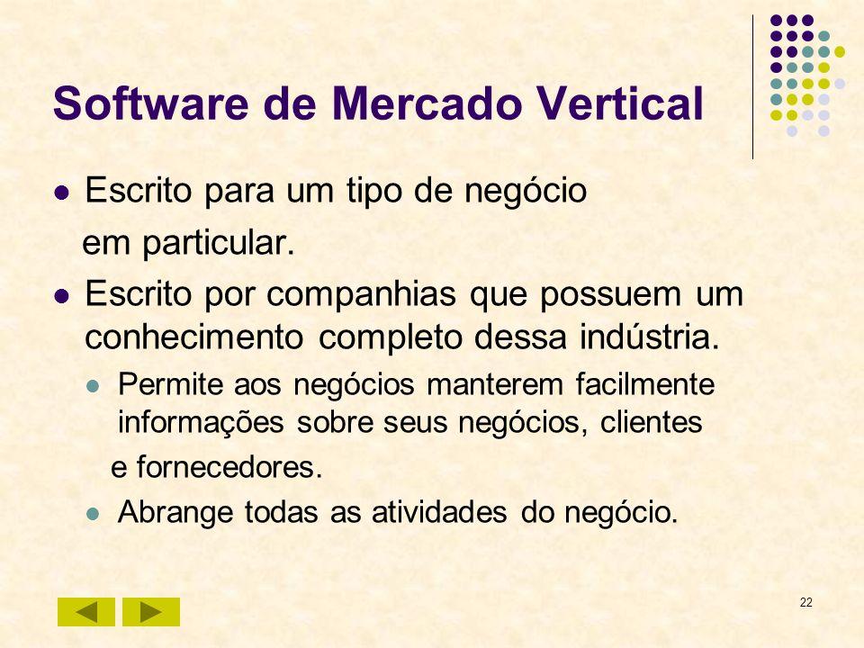 22 Software de Mercado Vertical Escrito para um tipo de negócio em particular. Escrito por companhias que possuem um conhecimento completo dessa indús