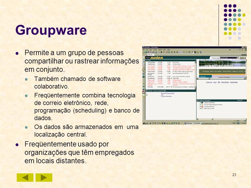 23 Groupware Permite a um grupo de pessoas compartilhar ou rastrear informações em conjunto. Também chamado de software colaborativo. Freqüentemente c