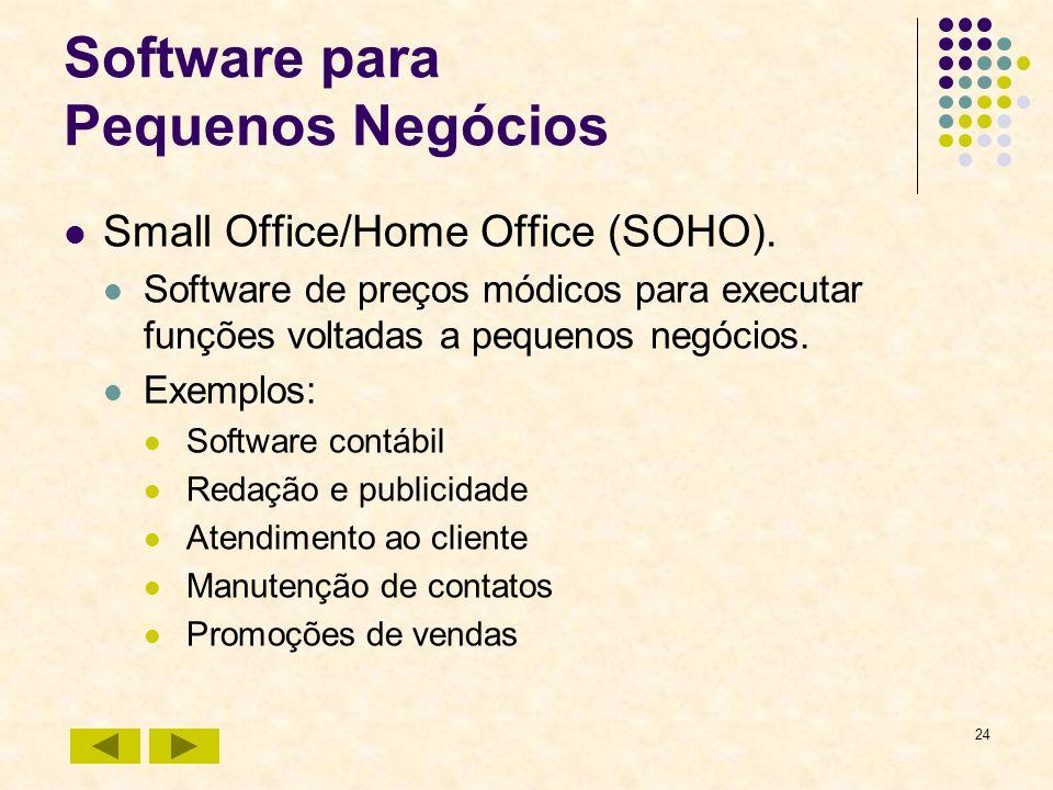 24 Software para Pequenos Negócios Small Office/Home Office (SOHO). Software de preços módicos para executar funções voltadas a pequenos negócios. Exe