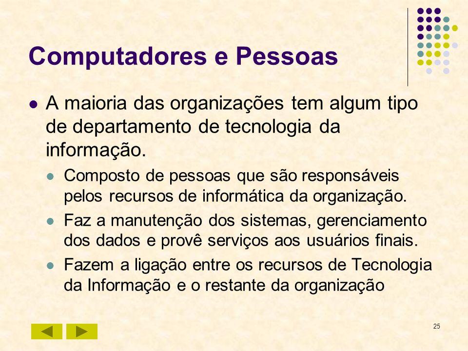 25 Computadores e Pessoas A maioria das organizações tem algum tipo de departamento de tecnologia da informação. Composto de pessoas que são responsáv