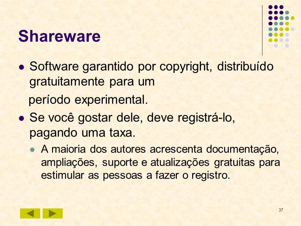 37 Shareware Software garantido por copyright, distribuído gratuitamente para um período experimental. Se você gostar dele, deve registrá-lo, pagando