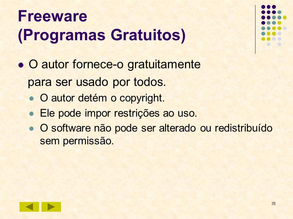 38 Freeware (Programas Gratuitos) O autor fornece-o gratuitamente para ser usado por todos. O autor detém o copyright. Ele pode impor restrições ao us