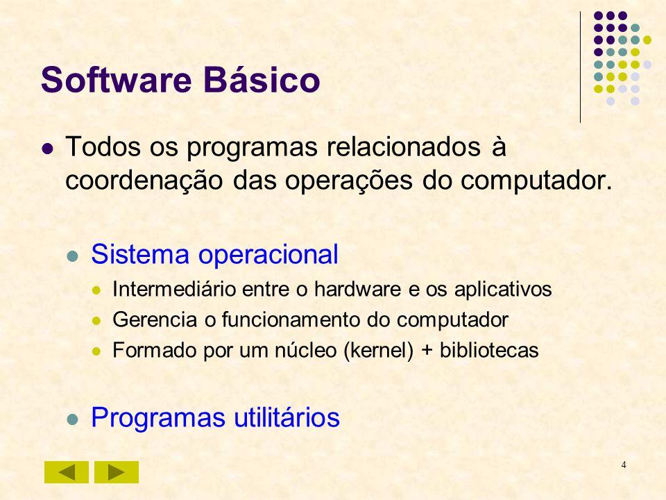 4 Software Básico Todos os programas relacionados à coordenação das operações do computador. Sistema operacional Intermediário entre o hardware e os a