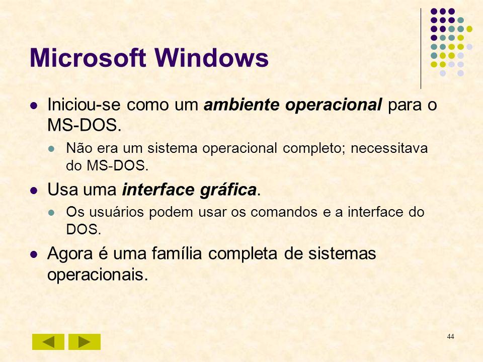 44 Microsoft Windows Iniciou-se como um ambiente operacional para o MS-DOS. Não era um sistema operacional completo; necessitava do MS-DOS. Usa uma in