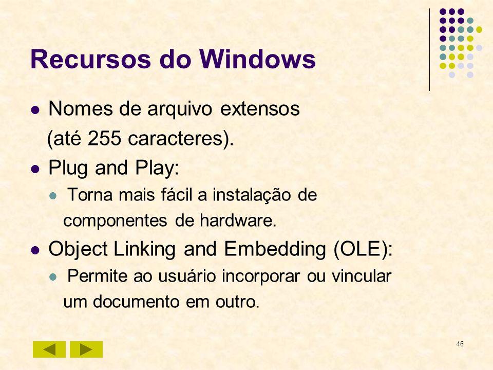 46 Recursos do Windows Nomes de arquivo extensos (até 255 caracteres). Plug and Play: Torna mais fácil a instalação de componentes de hardware. Object