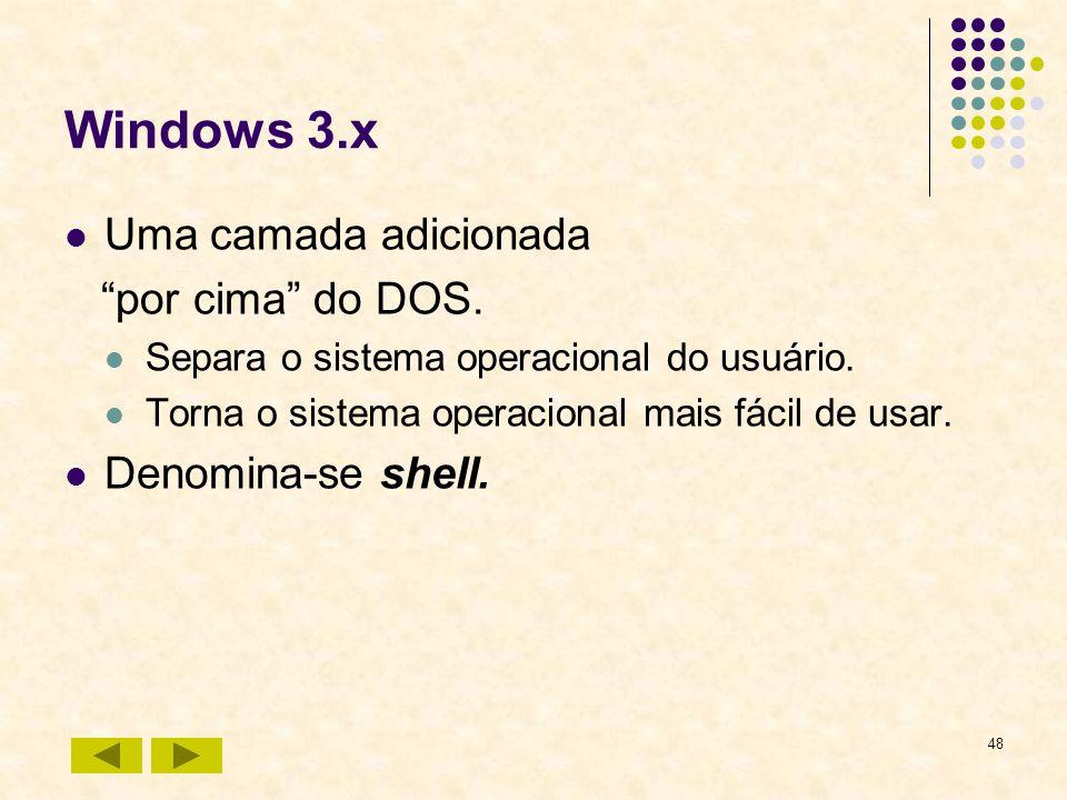 48 Windows 3.x Uma camada adicionada por cima do DOS. Separa o sistema operacional do usuário. Torna o sistema operacional mais fácil de usar. Denomin