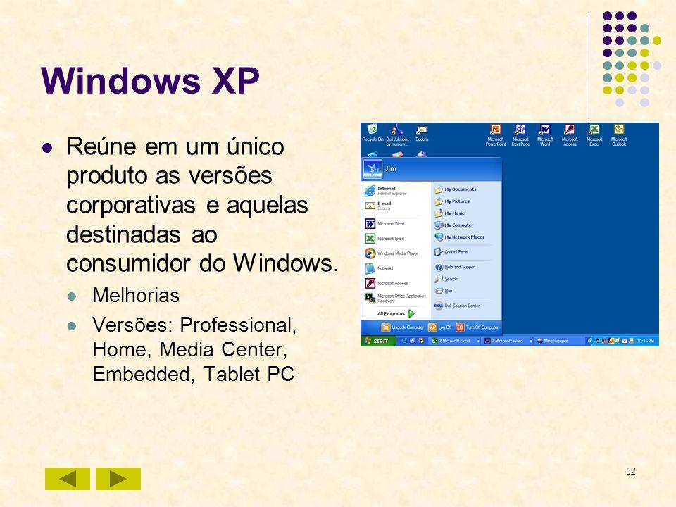 52 Windows XP Reúne em um único produto as versões corporativas e aquelas destinadas ao consumidor do Windows. Melhorias Versões: Professional, Home,