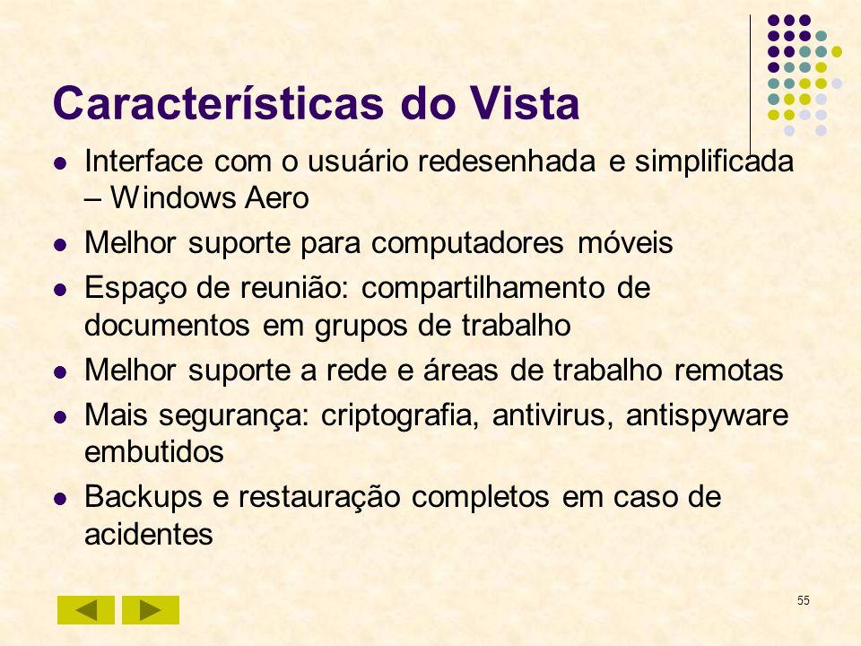 55 Características do Vista Interface com o usuário redesenhada e simplificada – Windows Aero Melhor suporte para computadores móveis Espaço de reuniã