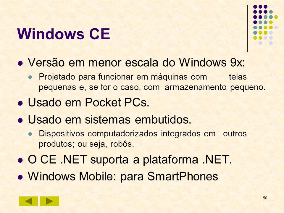 56 Windows CE Versão em menor escala do Windows 9x: Projetado para funcionar em máquinas com telas pequenas e, se for o caso, com armazenamento pequen