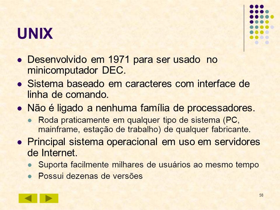 58 UNIX Desenvolvido em 1971 para ser usado no minicomputador DEC. Sistema baseado em caracteres com interface de linha de comando. Não é ligado a nen