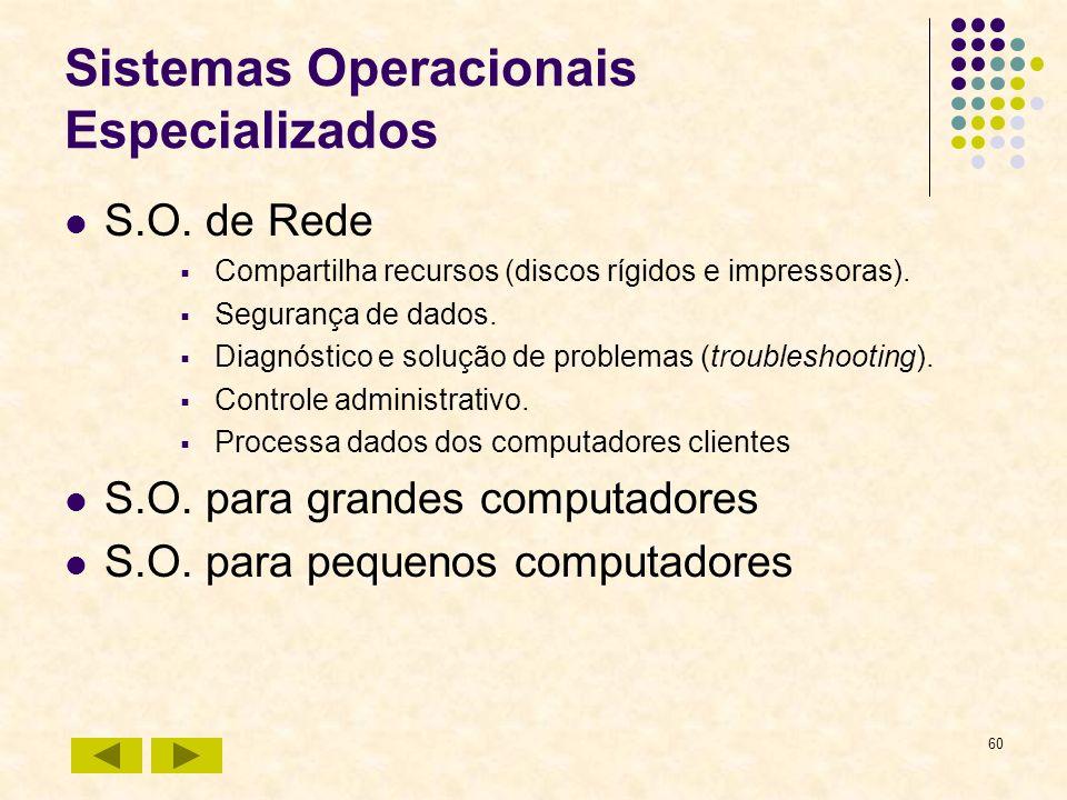 60 Sistemas Operacionais Especializados S.O. de Rede Compartilha recursos (discos rígidos e impressoras). Segurança de dados. Diagnóstico e solução de