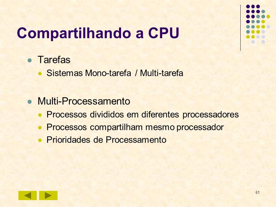 61 Compartilhando a CPU Tarefas Sistemas Mono-tarefa / Multi-tarefa Multi-Processamento Processos divididos em diferentes processadores Processos comp