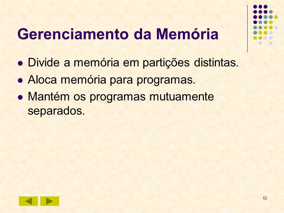 62 Gerenciamento da Memória Divide a memória em partições distintas. Aloca memória para programas. Mantém os programas mutuamente separados.