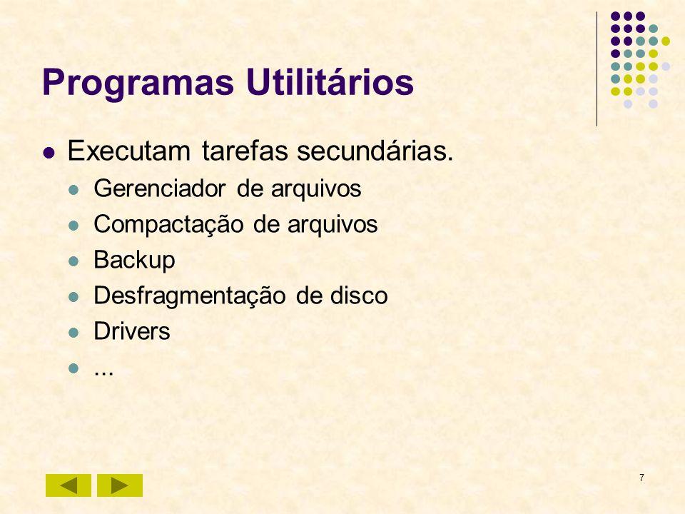 7 Programas Utilitários Executam tarefas secundárias. Gerenciador de arquivos Compactação de arquivos Backup Desfragmentação de disco Drivers...