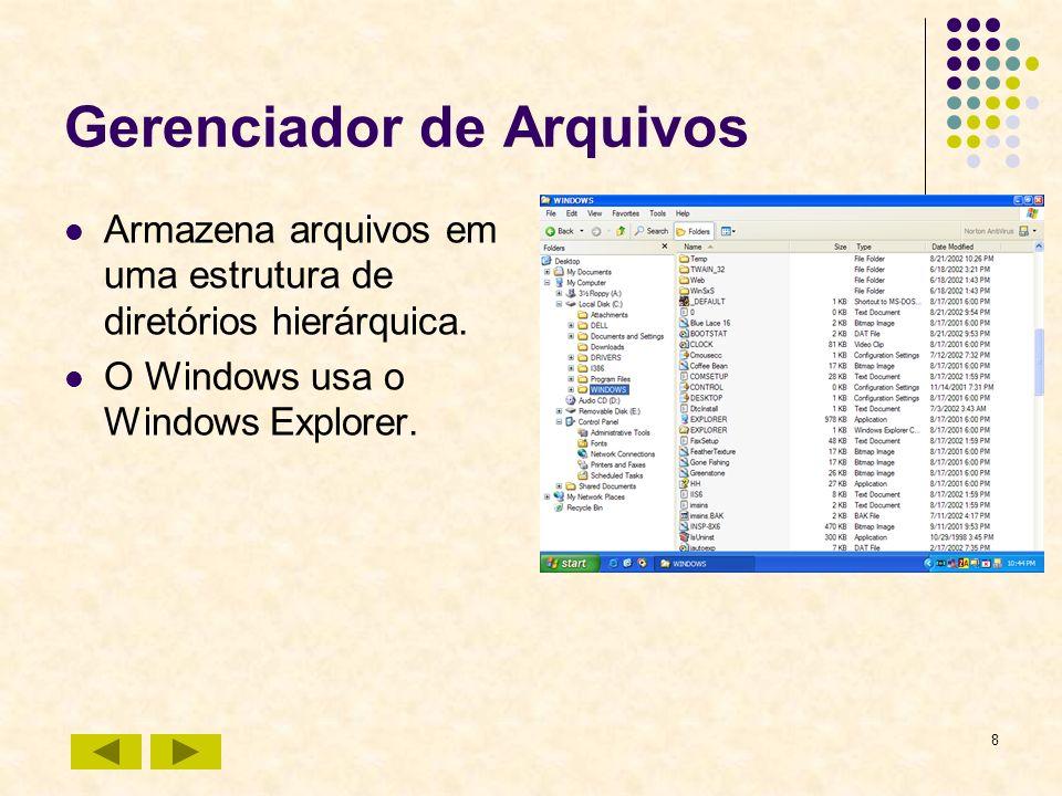 8 Gerenciador de Arquivos Armazena arquivos em uma estrutura de diretórios hierárquica. O Windows usa o Windows Explorer.