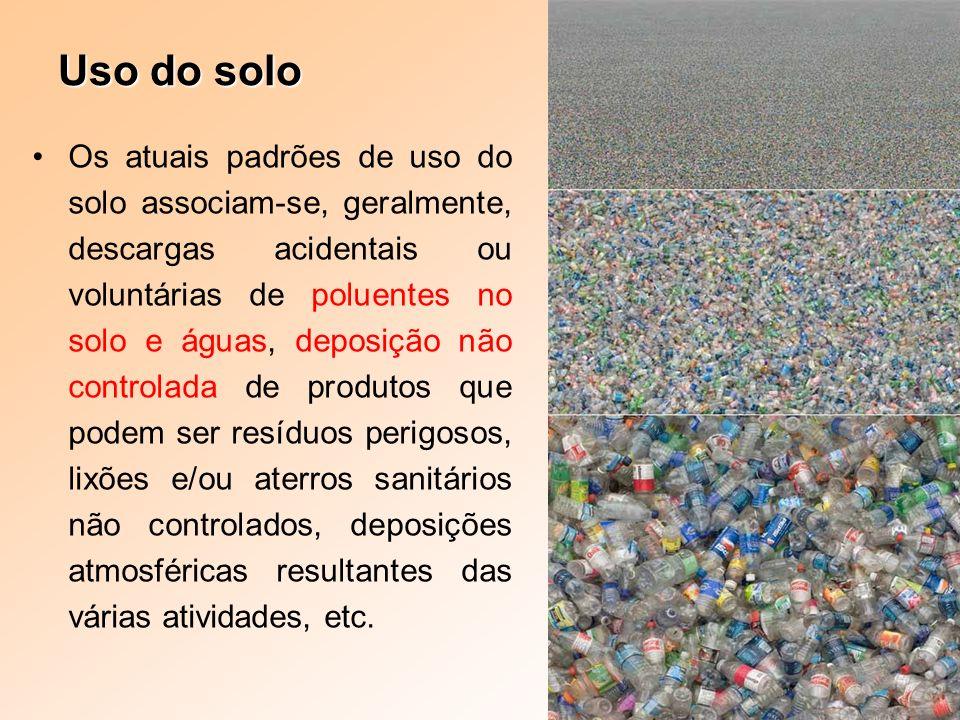 Uso do solo Os atuais padrões de uso do solo associam-se, geralmente, descargas acidentais ou voluntárias de poluentes no solo e águas, deposição não