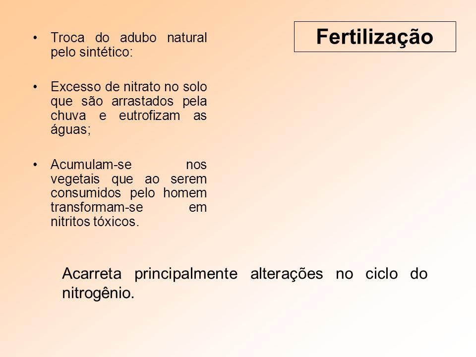 Troca do adubo natural pelo sintético: Excesso de nitrato no solo que são arrastados pela chuva e eutrofizam as águas; Acumulam-se nos vegetais que ao