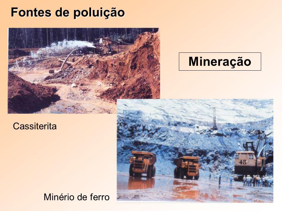 Fontes de poluição Mineração Minério de ferro Cassiterita