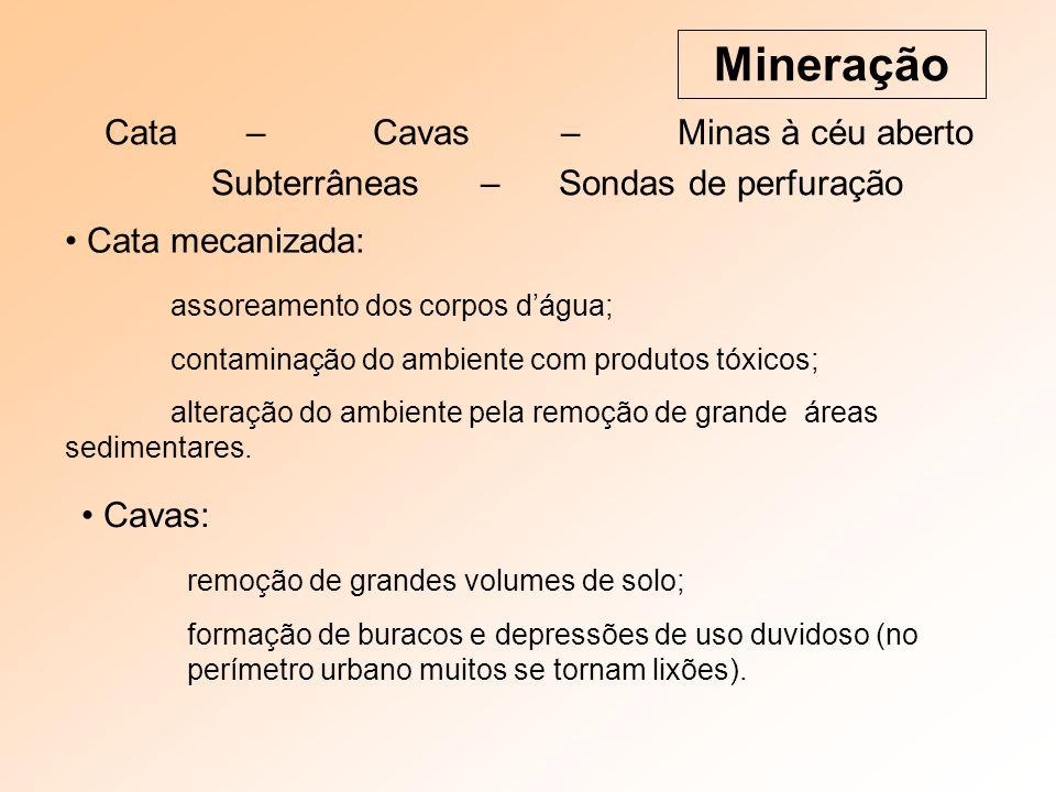 Cata – Cavas – Minas à céu aberto Subterrâneas – Sondas de perfuração Mineração Cata mecanizada: assoreamento dos corpos dágua; contaminação do ambien