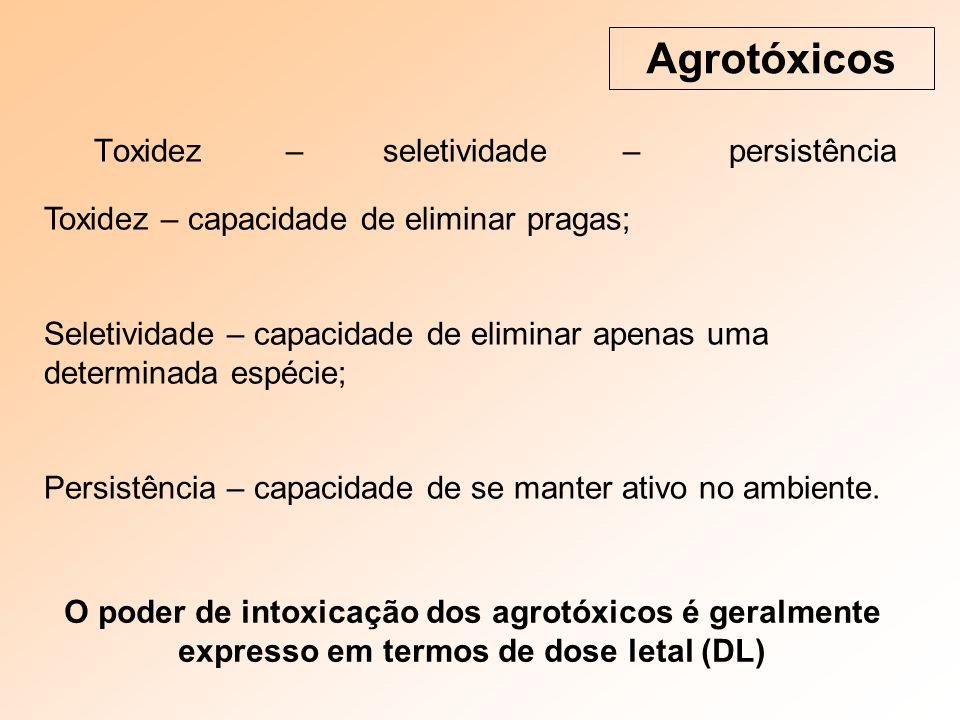 Toxidez – seletividade – persistência Agrotóxicos Toxidez – capacidade de eliminar pragas; Seletividade – capacidade de eliminar apenas uma determinada espécie; Persistência – capacidade de se manter ativo no ambiente.
