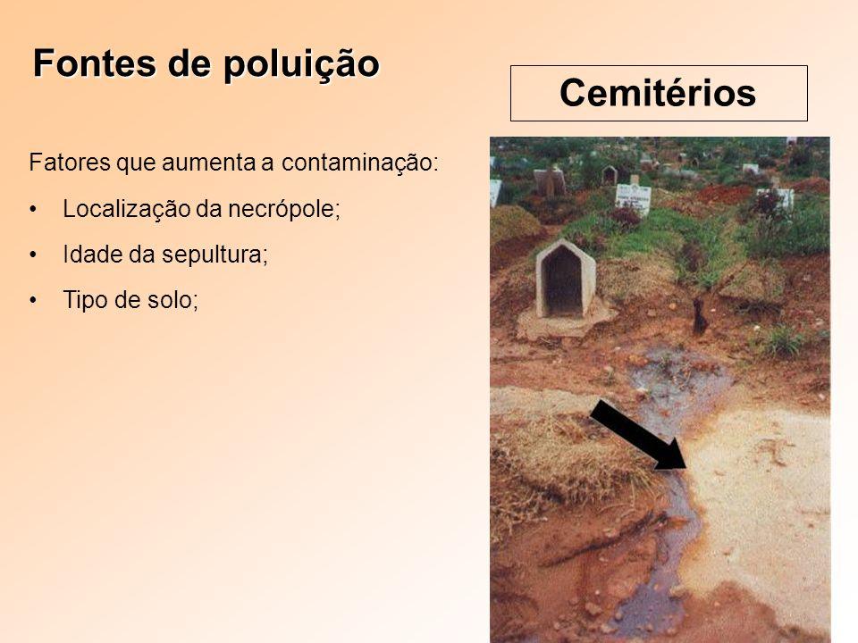 Fontes de poluição Cemitérios Fatores que aumenta a contaminação: Localização da necrópole; Idade da sepultura; Tipo de solo;